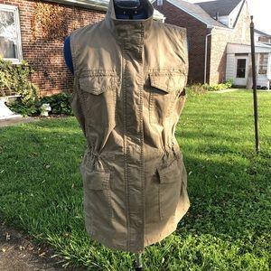 Banana Republic military style long vest jacket